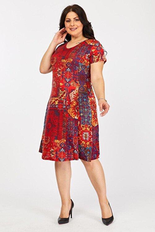 Mooi XXL Kadın Kırmızı Etnik Desenli Elbise 1