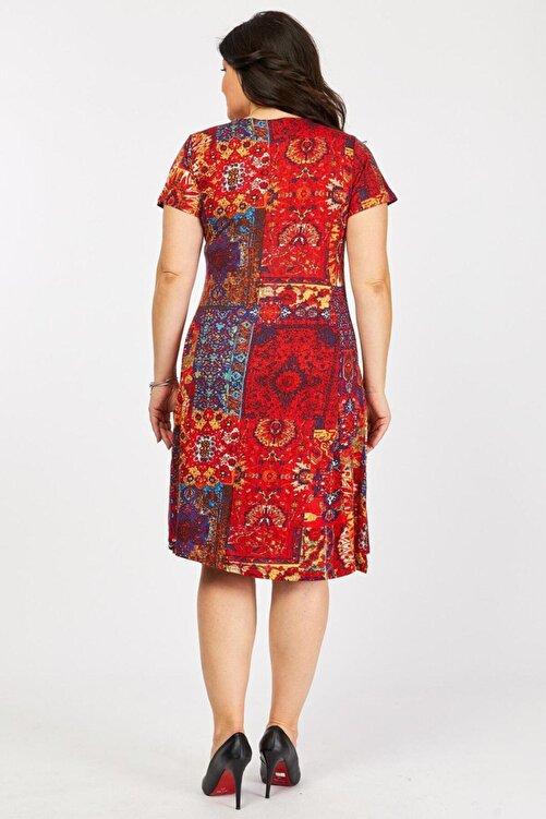 Mooi XXL Kadın Kırmızı Etnik Desenli Elbise 2
