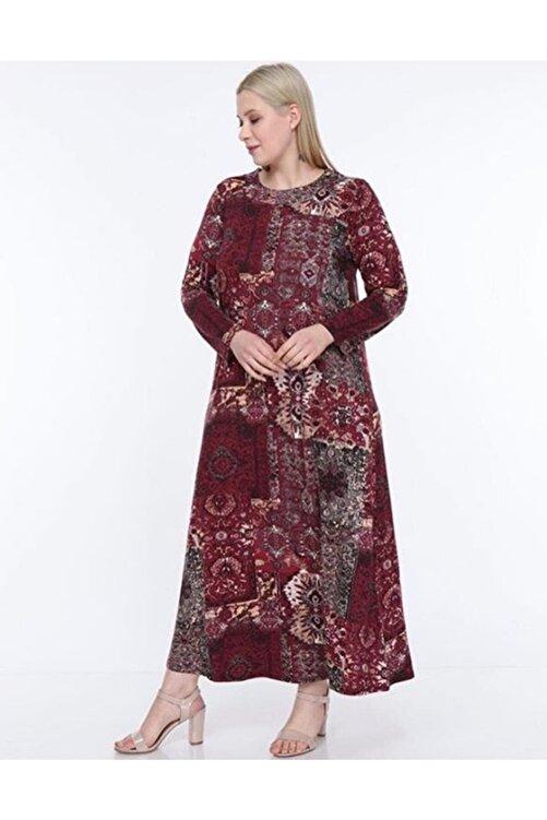 Şirin Butik Kadın Bordo Etnik Desenli Büyük Beden Elbise 2