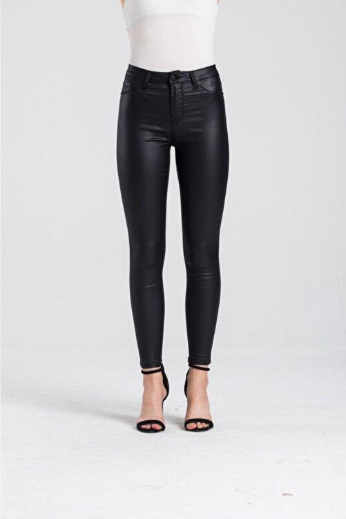 LACARINO Kadın Siyah Yüksek Bel Mumlu Pantolon 2