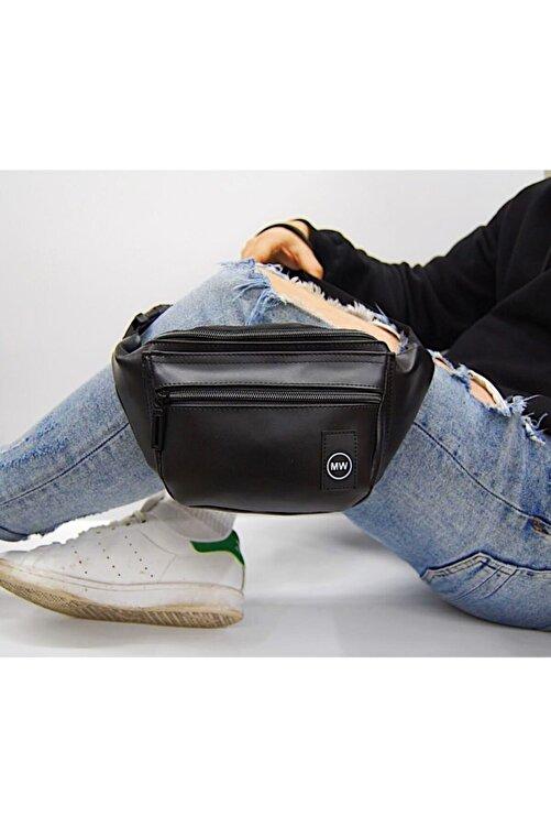 Moda West Unisex Siyah Suni Deri Bel Ve Omuz Çantası 2