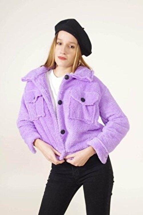 Modayıldızlar Kadın Lila Çift Cepli Peluş Ceket 1
