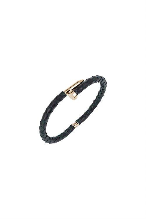 rue. Kadın Siyah Deri Kaplı Çivi Detaylı Çelik Bileklik MV21954 1