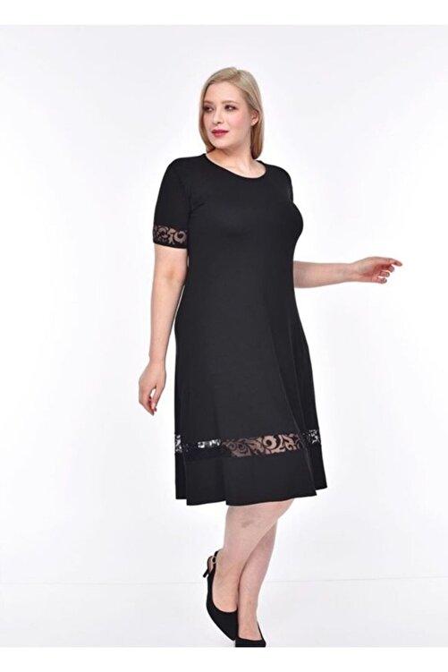 Şirin Butik Kadın Siyah Şerit Tül Detaylı Esnek Viskon Kumaş Elbise 2