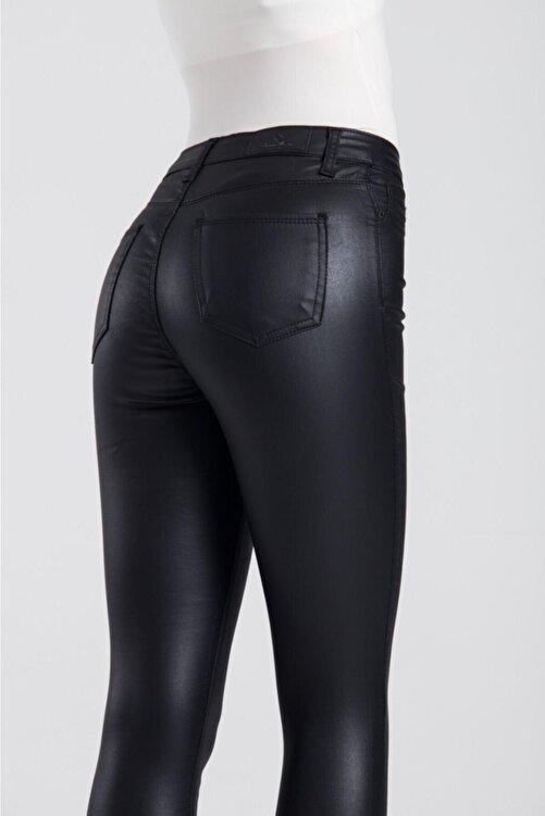 LACARINO Kadın Siyah Yüksek Bel Mumlu Pantolon 1