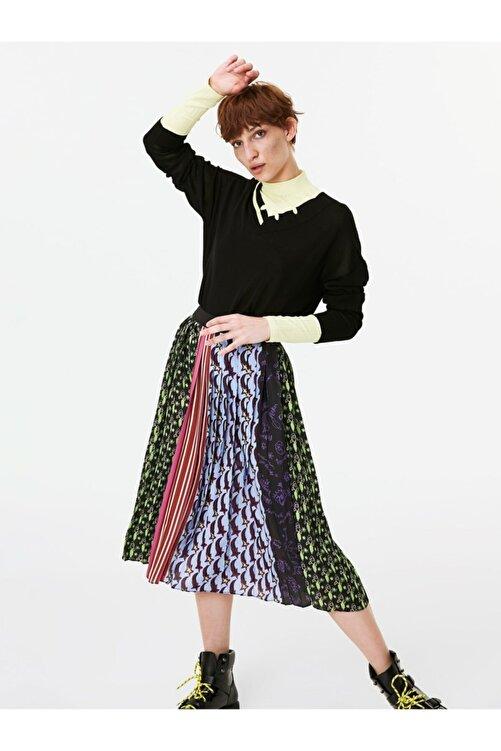 Twist Kadın Siyah Neon Şeritli Eskitme Form Kazak TW6190050027001 1