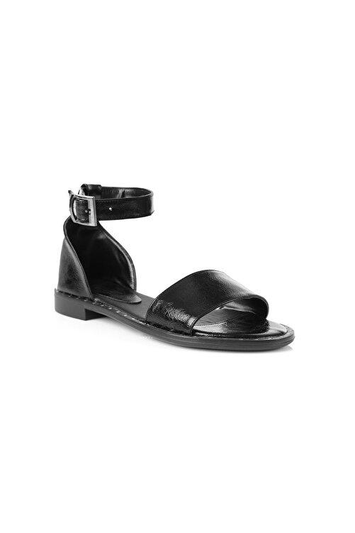 Oblavion Kadın Siyah Düz Tabanlı Sandalet 2