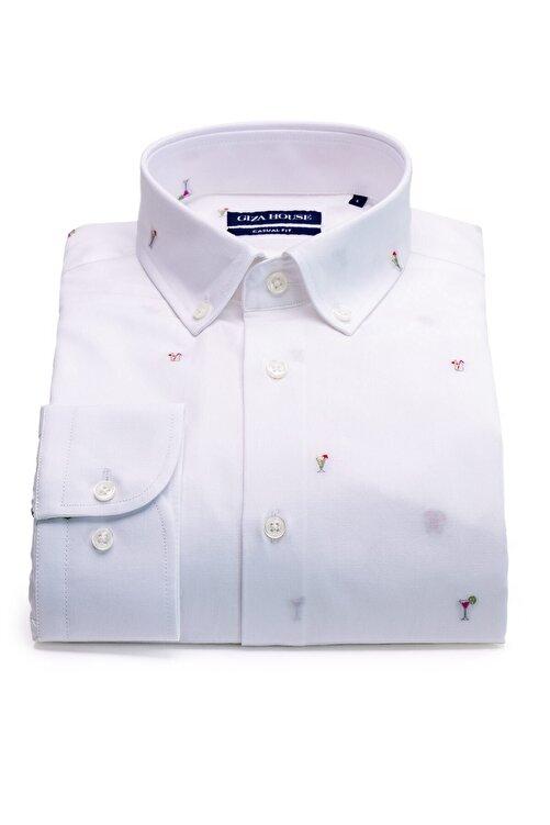 GIZA HOUSE Erkek Beyaz Kokteyl Desenli Fil Yaka Düğmeli Fit Gömlek 1