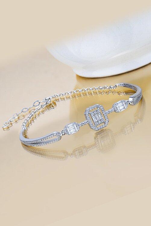 Else Silver Kadın Beyaz Tria Baget Taşlı Kelepçe Modeli 925 Ayar Gümüş Bileklik 1