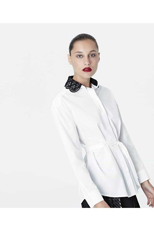İpekyol Kadın Beyaz Güpür Üzeri Boncuk Yakalı Gömlek IW6190006092002 2