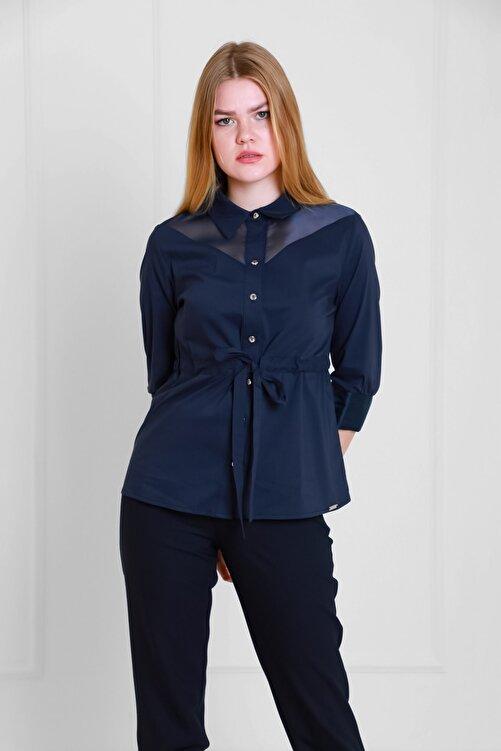 JEANNE DARC Lacivert Belden Büzgülü Organze Detaylı Pamuk Bluz Jb18111 1