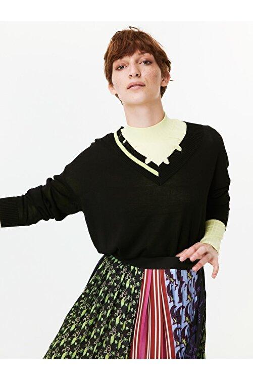 Twist Kadın Siyah Neon Şeritli Eskitme Form Kazak TW6190050027001 2