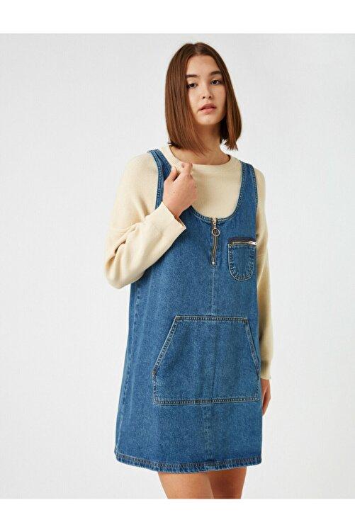 Koton Kadın Mavi Pamuklu Kot Elbise 2