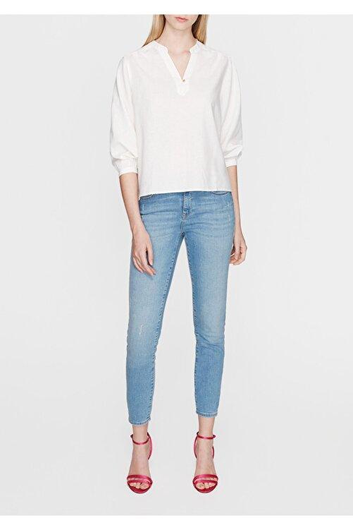 Mavi Kadın Keten Karışımlı Beyaz Bluz 122225-28289 2