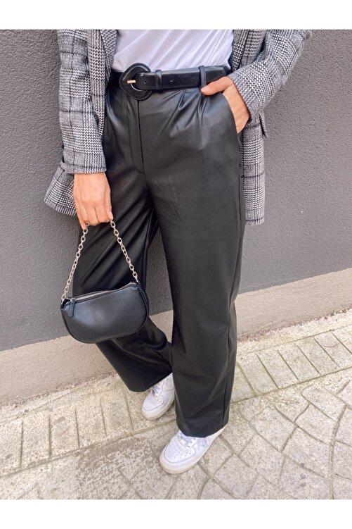 Busra's Boutique Kadın Siyah Deri Pantolon 2