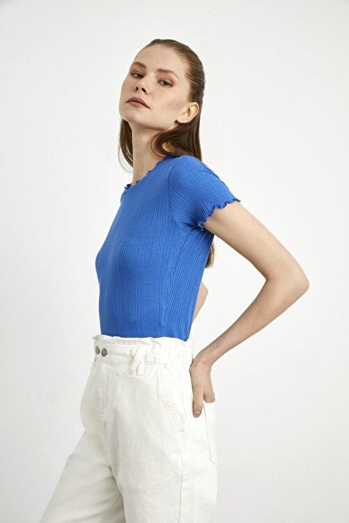 adL Kadın Mavi Kısa Kollu Fırfırlı Örme Bluz 2