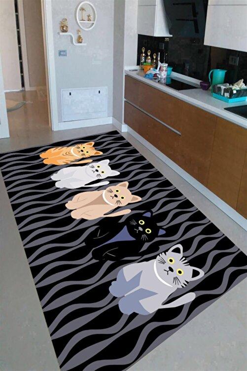 Resmiro Şaşkın Kediler Desenli Dijital Baskılı Halı 1