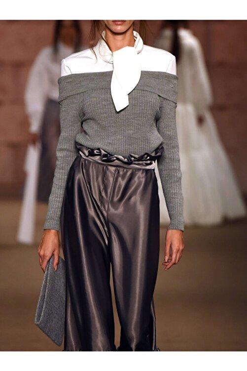 MERT ERKAN Kadın Silver Saten Pantolon 2