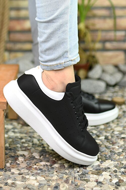 Riccon Erkek Siyah Beyaz Sneaker 1