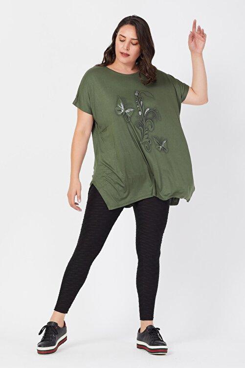 Siyezen Kadın Haki Büyük Beden Salaş Kelebek Detaylı T-shirt 2