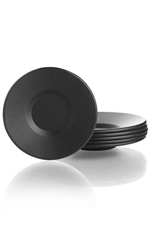 Kitchen Life Mat Siyah Lüx Metal 6'lı Çay Tabağı 1