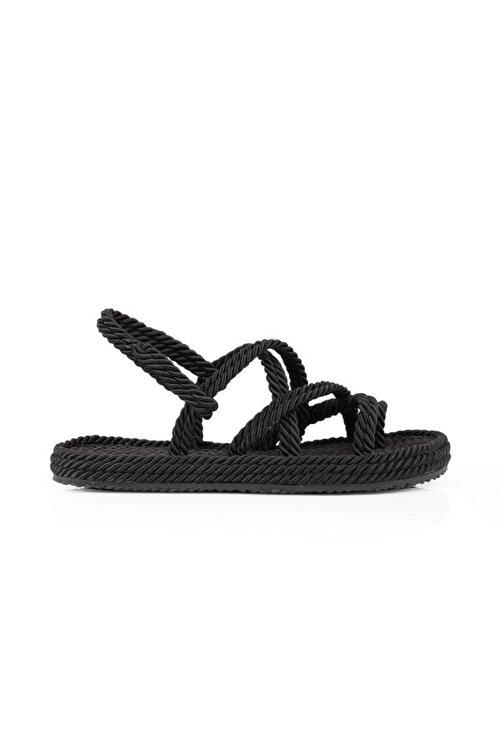 Oblavion Kadın Siyah Hasır Sandalet 1