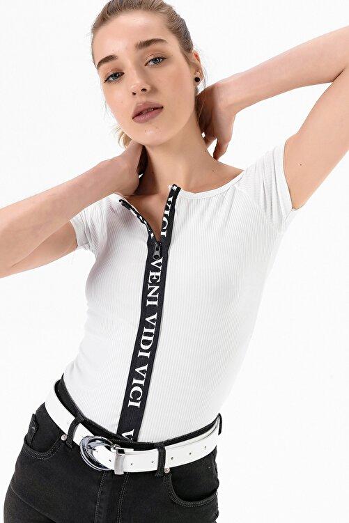EMJEY Kadın Beyaz Önü Fermuarlı Madonna Yaka Bluz She020y010001 1