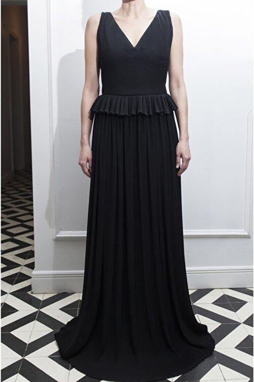 ÖZLEM AHIAKIN Kadın Bel Detaylı Piliseli Siyah Elbise 1