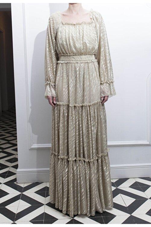 ÖZLEM AHIAKIN Kadın Gold Fırfır Detaylı Uzun Elbise 1