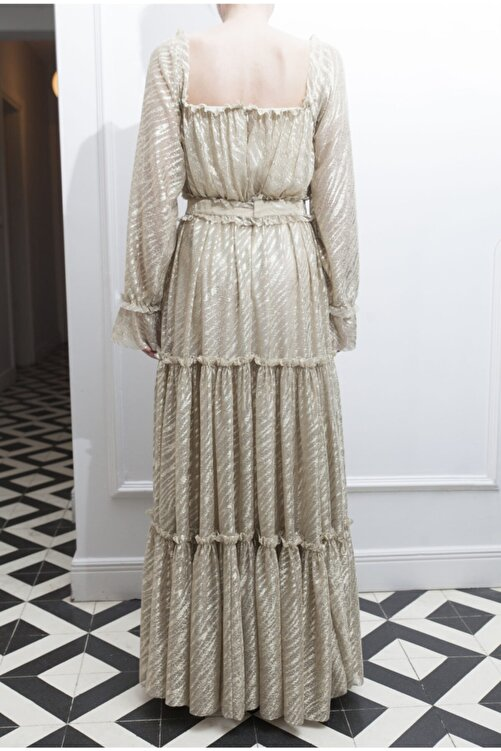 ÖZLEM AHIAKIN Kadın Gold Fırfır Detaylı Uzun Elbise 2