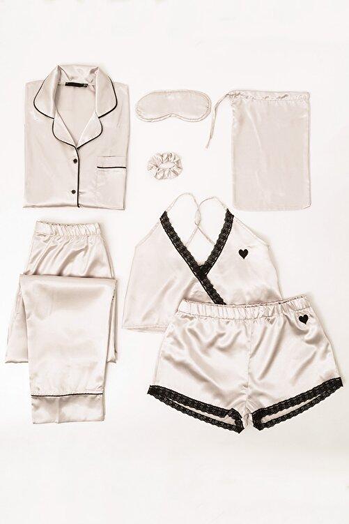 FOR YOU MODA 7 Li Dantelli Saten Pijama Takım 1