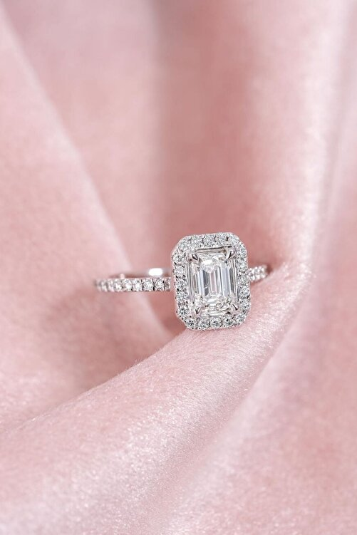 Crystal Diamond Zirconia Labaratuvar Pırlantası 1 Carat Baget Tektaş Yüzük 1