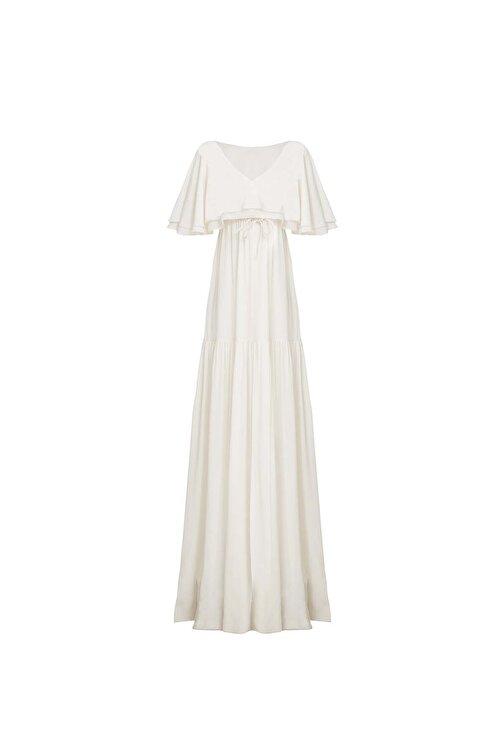 Meltem Özbek Kadın Beyaz V Yaka Volan Detaylı Uzun Elbise 2