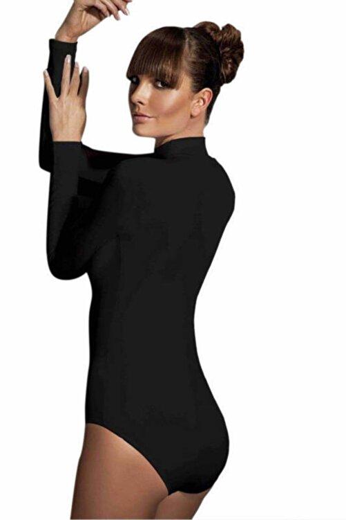 Doreanse Kadın Siyah Çıtçıtlı Uzun Kollu Boğazlı Body 12407 2