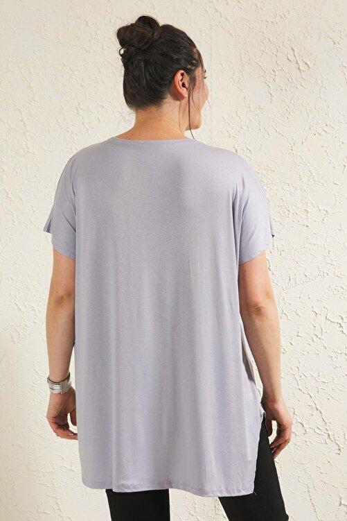 Siyezen Gri Büyük Beden Salaş Önü Baskı Detaylı Bluz 2