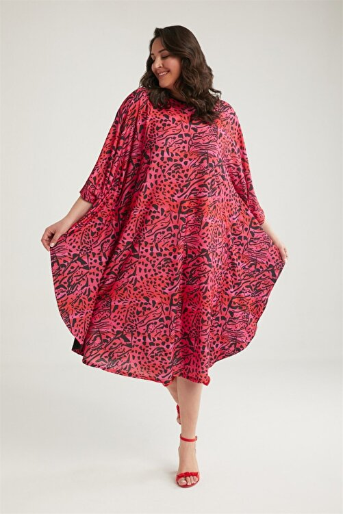 WANNA Kadın Baskılı Midi Elbise 1