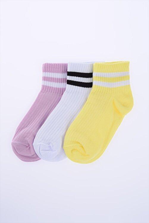 TRENDYOLMİLLA 3'lü Paket Çizgili Çorap TWOSS20CO0054 1