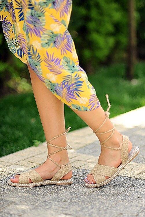 Pembe Potin Kadın Hasır Sandalet 2