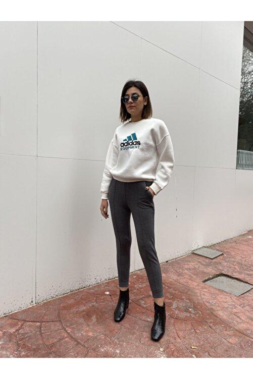 BSL Kadın Gri Beli Lastikli Pantolon 1