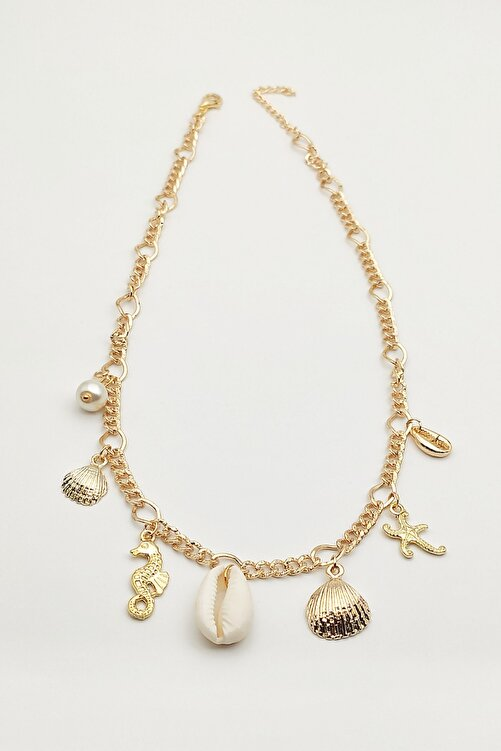 Lolita Takı Kadın Deniz Kabuklu Kolye Altın Sarısı 2