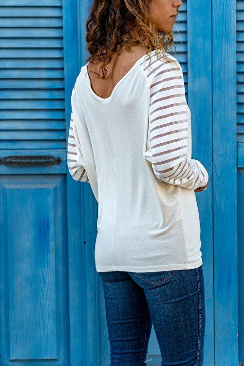 Güneşkızı Kadın Ekru Kolu Tül Detaylı Bluz GK-CCKSAN105 2