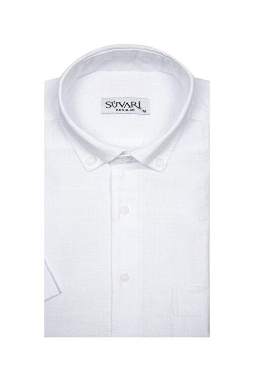 SÜVARİ Kısa Kollu Beyaz Erkek Gömlek Bol Kesim Tam Pamuk 1