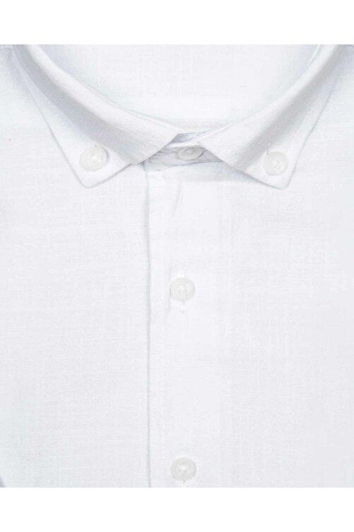 SÜVARİ Kısa Kollu Beyaz Erkek Gömlek Bol Kesim Tam Pamuk 2
