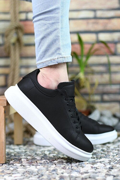 Riccon Siyah Siyah Beyaz Erkek Sneaker 0012360 1