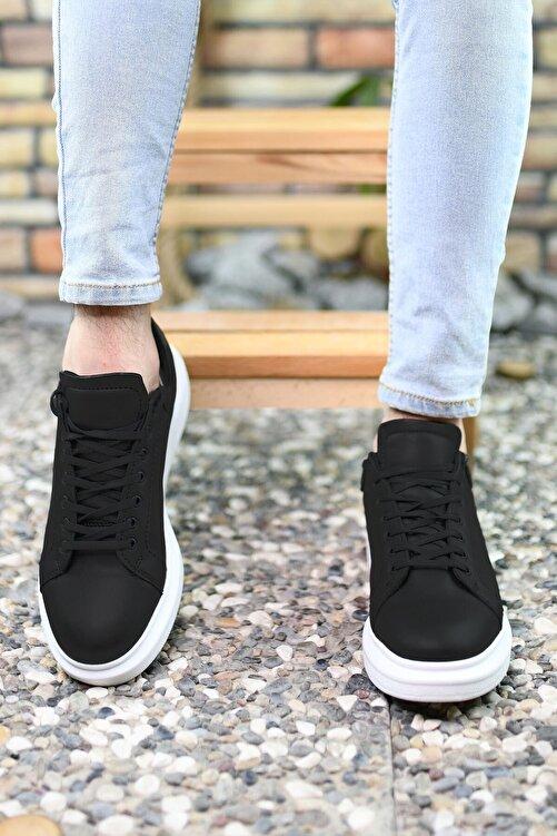 Riccon Siyah Siyah Beyaz Erkek Sneaker 0012360 2