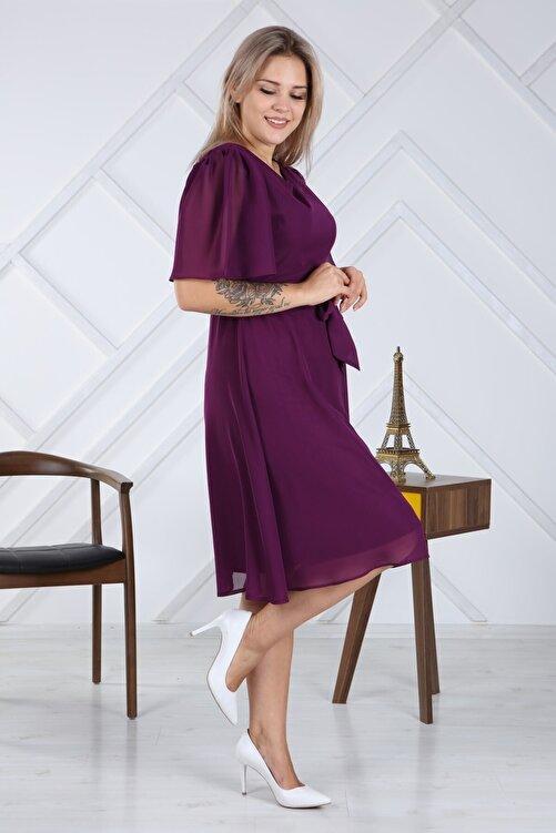 apsen Kadın Büyük Beden Bağlama Detaylı Şifon Elbise 4257/110 2