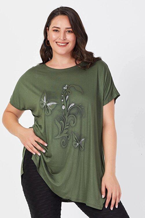 Siyezen Kadın Haki Büyük Beden Salaş Kelebek Detaylı T-shirt 1