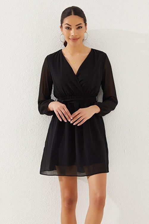 Reyon Kadın Siyah Kruvaze Yaka Bel Kuşaklı Elbise 2