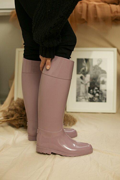 Ccway Kadın Pembe Uzun Yağmur Çizmesi 2