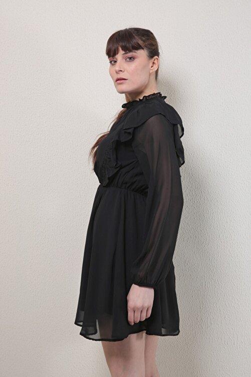 Reyon Kadın Siyah Fırfırlı Şifon Elbise  20830001C1B 2